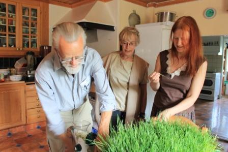 Vi gjorde också Vetegråsjuice i gräskvarn
