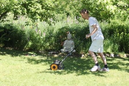 Jens klipper gräset grönt
