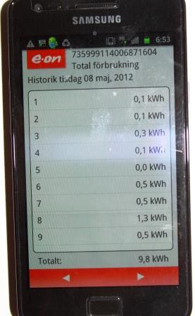 EON 100koll i mobilen - 9,8 kWH senaste dygnet