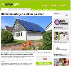 Kumlanytt skriver om Ekosvenssons solelsföredrag 2013-04-24